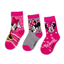Children's Minnie Mouse Triple Pack Socks Pink/Red