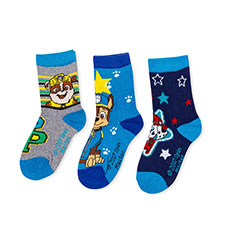 Children's Paw Patrol Triple Pack Socks Navy/Blue/Grey