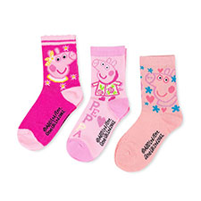 Children's Peppa Pig Triple Pack Socks Pink
