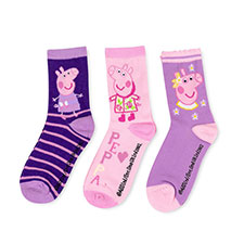 Children's Peppa Pig Triple Pack Socks Purple/Lilac/Pink