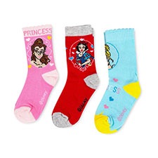 Children's Disney Princess Triple Pack Socks Red/Blue/Pink