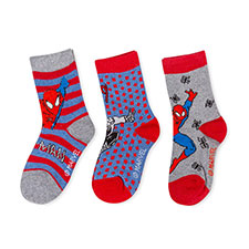 Children's Spiderman Triple Pack Socks Blue/Red/Grey