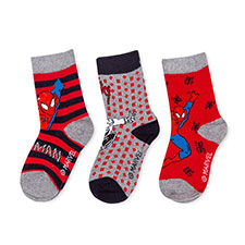 Children's Spiderman Triple Pack Socks Grey/Red