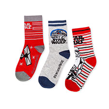 Children's Star Wars Triple Pack Socks Light Grey/Red/Stripe