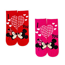 Children's Minnie & Mickey Mouse Twin Pack Socks Red/Pink