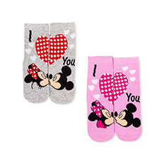 Children's Minnie & Mickey Mouse Twin Pack Socks Grey/Light Pink