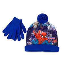 Children's Spiderman Hat & Glove Set Blue