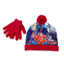 Children's Spiderman Hat & Glove Set Red