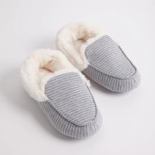 totes Stripe Upper Moccasin with Fur Cuff Grey