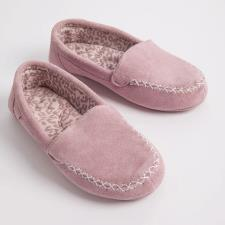 totes Real Suede Moccasin with Animal Inner Pink
