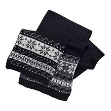 totes Mens Fair Isle Knitted Scarf