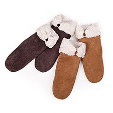 isotoner Suede Mitten With Sherpa Cuff & Tab