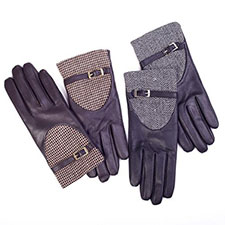 isotoner Tweed Insert Leather Gloves