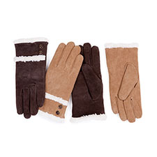 Isotoner Sherpa Cuff Suede  With Button Detail Gloves