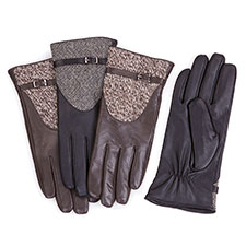 Isotoner Leather With Lurex Tweed Insert Gloves