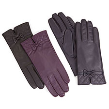 Isotoner Quilted Cuff Detail Leather Gloves