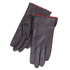 Isotoner Tartan Trim Leather Smartouch Gloves