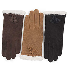 Isotoner Ladies Suede Glove with Plait & Tassles