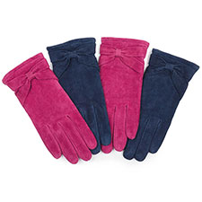 Isotoner Ladies Suede Glove with Bow Detail