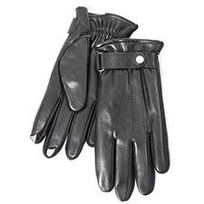 SmarTouch Mens Leather 5 Finger Touchscreen Gloves