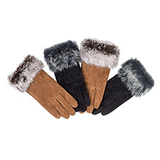Isotoner Ladies Suede Glove with Faux Fur Cuff