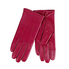 Isotoner Ladies Waterproof 3 Point Leather Gloves Cherry Red