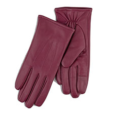 Isotoner Ladies Waterproof 3 Point Leather Gloves Red