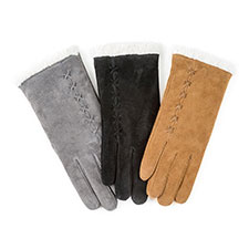 Isotoner Ladies Suede Gloves with Sherpa Cuff