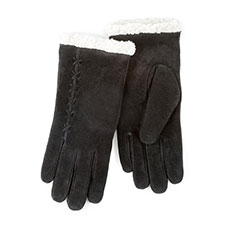 Isotoner Ladies Suede Gloves with Sherpa Cuff Black