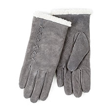 Isotoner Ladies Suede Gloves with Sherpa Cuff Grey