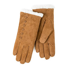 Isotoner Ladies Suede Gloves with Sherpa Cuff Tan