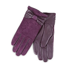 Isotoner Ladies Luxury Suede and Leather Gloves with Bow Plum