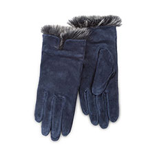 Isotoner Ladies Luxury Suede Gloves with Faux Fur Spill  Navy