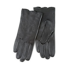 Isotoner Ladies Luxury Leather Gloves with Scallop Edge Black