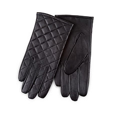 Isotoner Ladies Luxury Quilted Leather Gloves Black