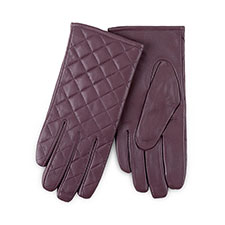 Isotoner Ladies Luxury Quilted Leather Gloves Mink