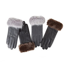 Isotoner Ladies Luxury Leather Gloves with Faux Fur Cuff