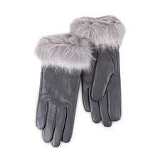 Isotoner Ladies Luxury Leather Gloves with Faux Fur Cuff  Grey