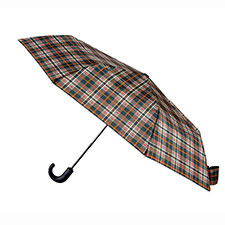 totes X-TRA STRONG  Auto Open/Close Check Print Crook Handle Umbrella