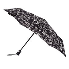 totes Auto Open/Close XTRA STRONG Rain Text Print Umbrella