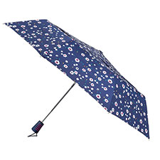 totes Auto Open Double Canopy Navy Dotty Daisy Umbrella