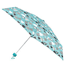totes Compact Round Cloud Print Umbrella