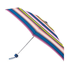 totes Compact Round Affinity Stripe Print Umbrella (5 Section)