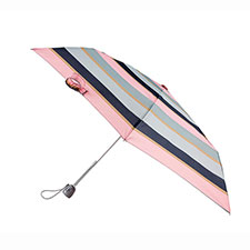 totes Auto Open/Close Thin Pink Wide Stripe Print Umbrella