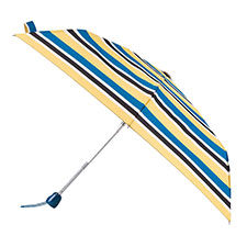 totes Auto Open/Close Thin Teal Nautical Stripe Print Umbrella (3 Section)