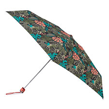 totes Compact Flat Jungle Leaf Print Umbrella