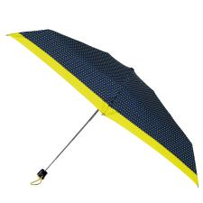 totes Compact Flat Pin Spot Border Print Umbrella  (5 Section)