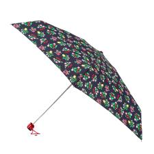 totes Compact Flat Fruit Ditsy Print Umbrella With Strawberry Charm (5 Section)