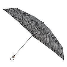 totes Compact Flat B&W Icicles Print Umbrella (5 Section)
