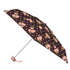 totes Compact Flat Polka Dot Rose Print Umbrella (5 Section)